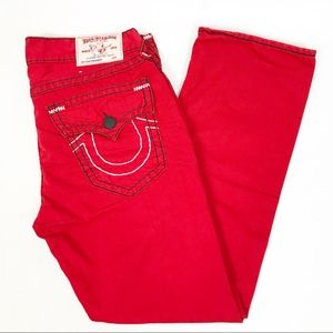 True Religion Red Straight Flap Pocket Jeans